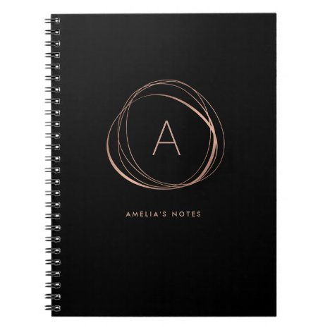 Black and Faux Rose Gold Monogram Notebook