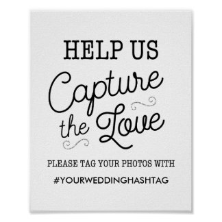 Black and Faux Silver Glitter Wedding Hashtag Sign Poster