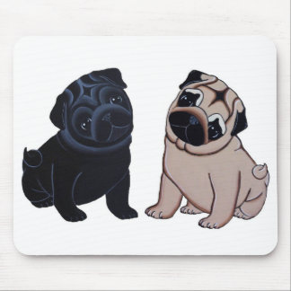 Black and Fawn Pug Puppies Mouse Pad