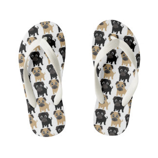 Black and Fawn Pugs Kid's Flip Flops