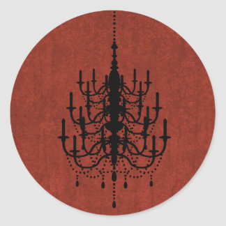 Black and Fire Red Chandelier Wedding Seal Classic Round Sticker