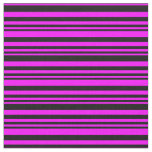 [ Thumbnail: Black and Fuchsia Stripes/Lines Pattern Fabric ]
