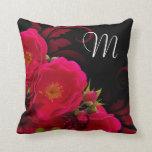 Black and Fuchsia Wild Rose Monogram Accent Pillow