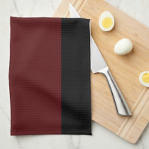 Black and Garnet Striped Kitchen Towel