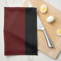 Black and Garnet Striped Kitchen Towel
