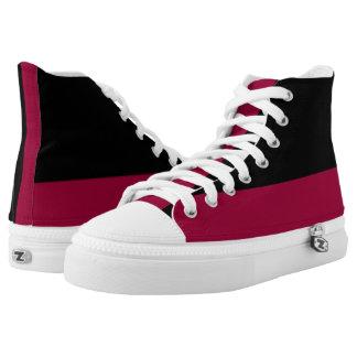 Black and Garnet Two-Tone Hi-Top Printed Shoes