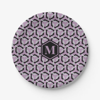 Black and Glacier Gray Hexes Paper Plate 7 Inch Paper Plate