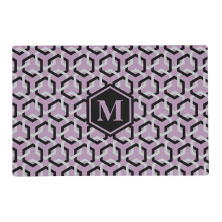 Black and Glacier Gray Hexes Placemat