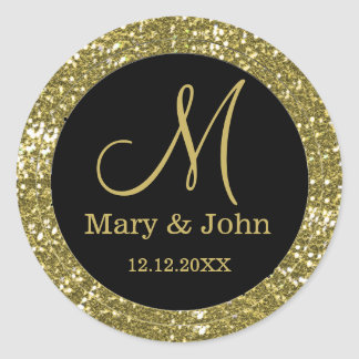 Black And Glitter Gold Wedding Monogram Seals
