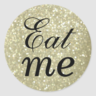 Black and Glittery Gold Eat Me Sticker
