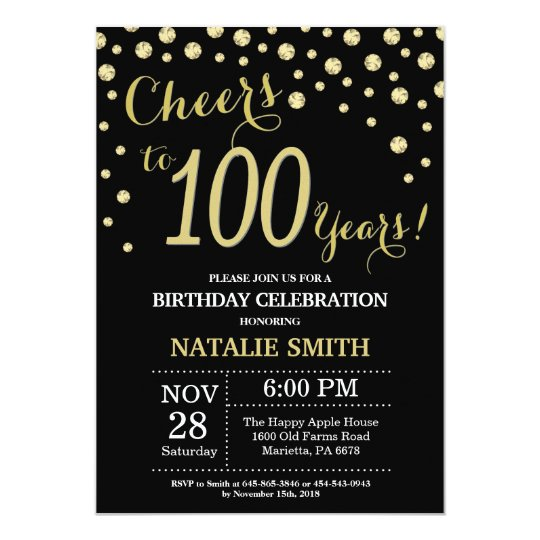 Black and gold 100th birthday diamond invitation zazzle black and gold 100th birthday diamond invitation filmwisefo