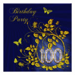 Black and Gold 100th Birthday party Personalized Invitation