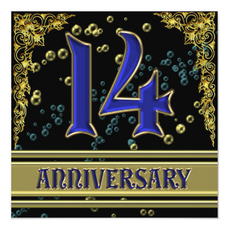 Black and Gold 14th Anniversary party Card