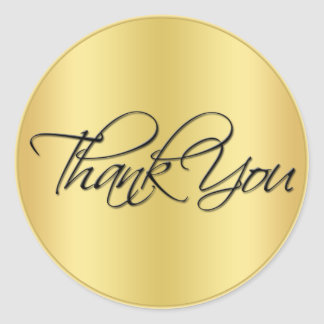 """Black and Gold 1.5"""" Diameter Thank You Sticker"""