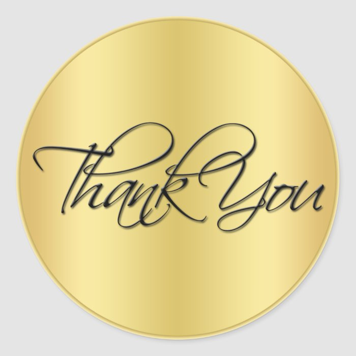 "Black and Gold 1.5"" Diameter Thank You Sticker"