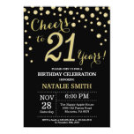 Black and Gold 21st Birthday Diamond Invitation