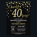 """Black and Gold 40th Birthday Diamond Invitation<br><div class=""""desc"""">30th Birthday Invitation with Black and Gold Glitter Diamond Background. Gold Confetti. Adult Birthday. Male Men or Women Birthday. For further customization,  please click the """"Customize it"""" button and use our design tool to modify this template.</div>"""