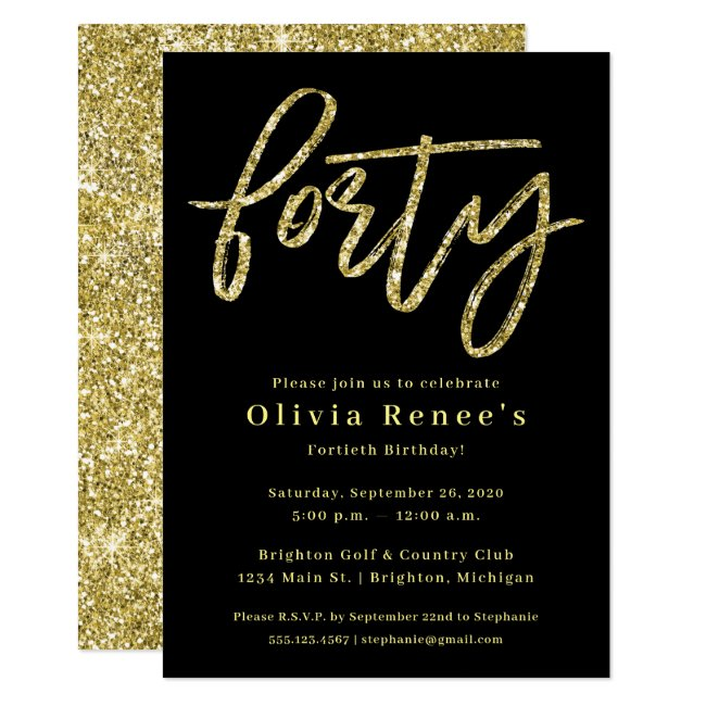 Black and Gold 40th Birthday Invitation Template