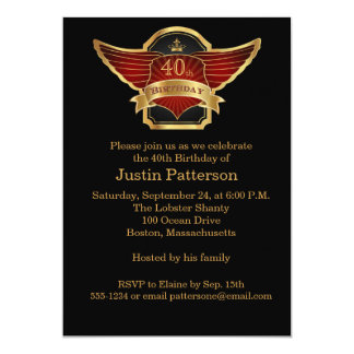 Black and Gold 40th Birthday Party Invitation