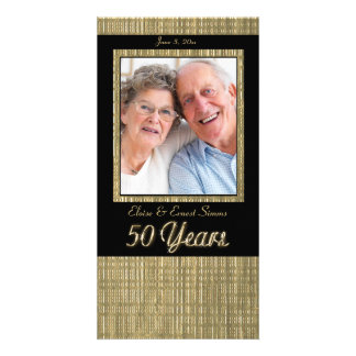 Black and Gold 50 Year Anniversary Photo Card
