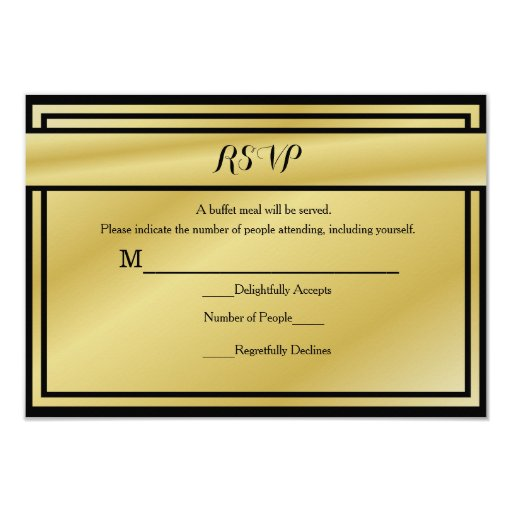 Black and gold th anniversary rsvp for buffet card zazzle