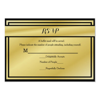 Black And Gold 50th Anniversary RSVP for Buffet 3.5x5 Paper Invitation Card