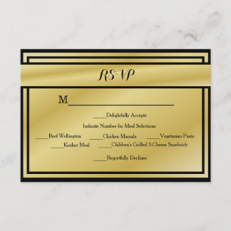 Black And Gold 50th Anniversary RSVP w/ Meals