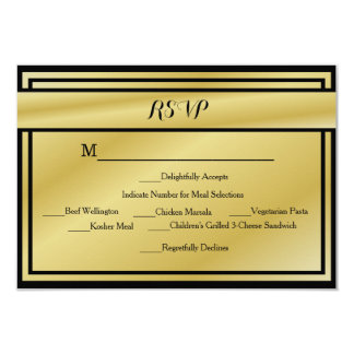 Black And Gold 50th Anniversary RSVP w/ Meals Card