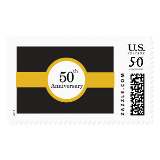 Black and Gold 50th Anniversary Stamp
