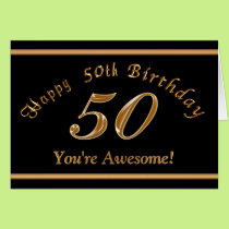 Black and Gold 50th Birthday Card with YOUR TEXT