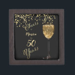 """Black and Gold 50th Birthday Keepsake Gift Box<br><div class=""""desc"""">Elegant keepsake for a wonderful 50th Birthday Celebration! Black and gold design with a sparkling champagne wine glass and glittering bubbles. Cheers for 30, 40, 60, even a 90 year milestone birthday, retirement party or other event. ~ To personalize the name and year simply go to the dropdown menu under...</div>"""