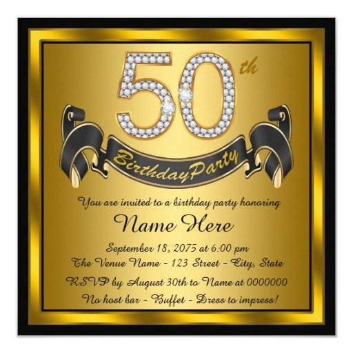 Black and Gold 50th Birthday Party Invitation