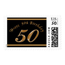 Black and Gold 50th Birthday Stamps