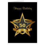 Black and Gold 50th Birthday Star Cards