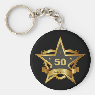Black and Gold 50th Birthday Star Keychain