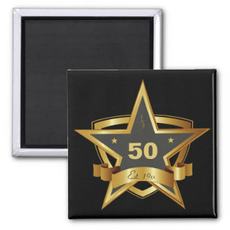 Black and Gold 50th Birthday Star 2 Inch Square Magnet