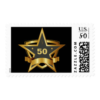 Black and Gold 50th Birthday Star Postage