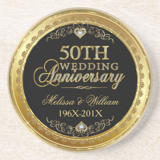 Black And Gold 50th Wedding Anniversary Design Sandstone Coaster