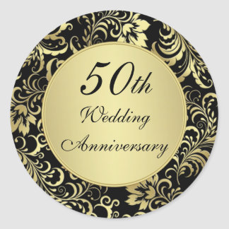 Black and gold 50th Wedding Anniversary Sticker