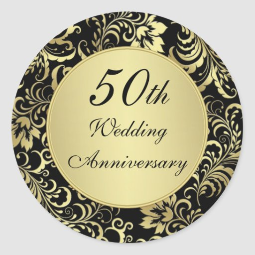 Black And Gold 50th Wedding Anniversary Sticker Zazzle