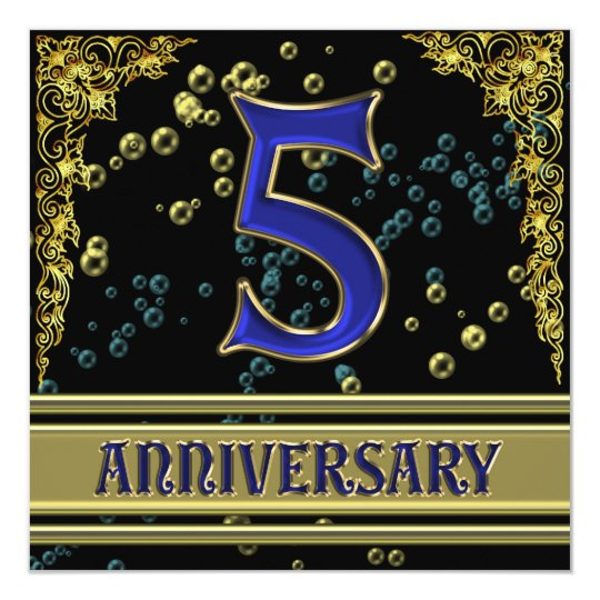 Black and Gold 5th Anniversary party Card