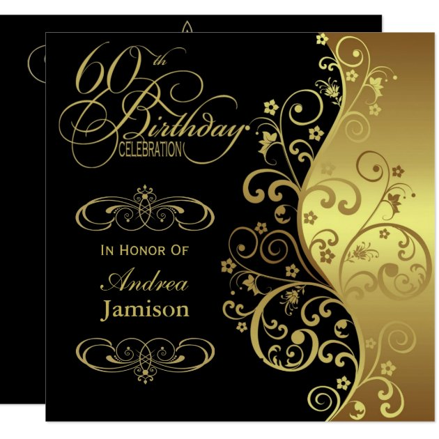 Black and Gold 60th Birthday Party Invitation | Zazzle