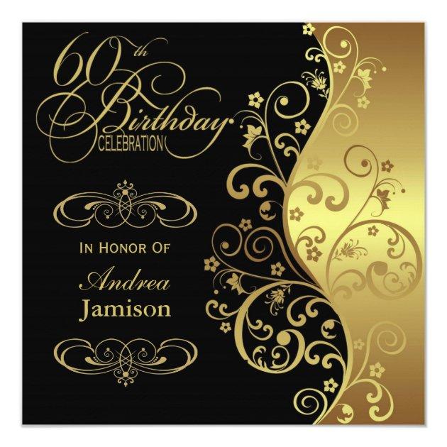 Black and Gold 60th Birthday Party Invitation | Zazzle.com