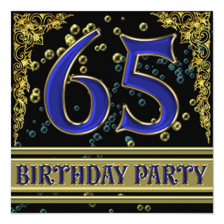 Black and Gold 65th Birthday party Card