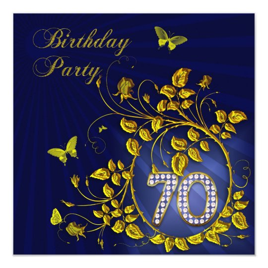 Black and Gold 70 Birthday party Card