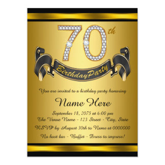 Black and Gold 70th Birthday Party Card