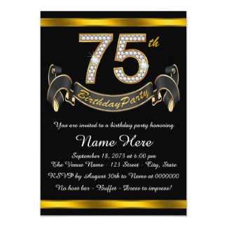 Black and Gold 75th Birthday Party 5x7 Paper Invitation Card