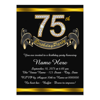 Black and Gold 75th Birthday Party 6.5x8.75 Paper Invitation Card