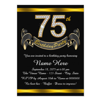 Black and Gold 75th Birthday Party Card