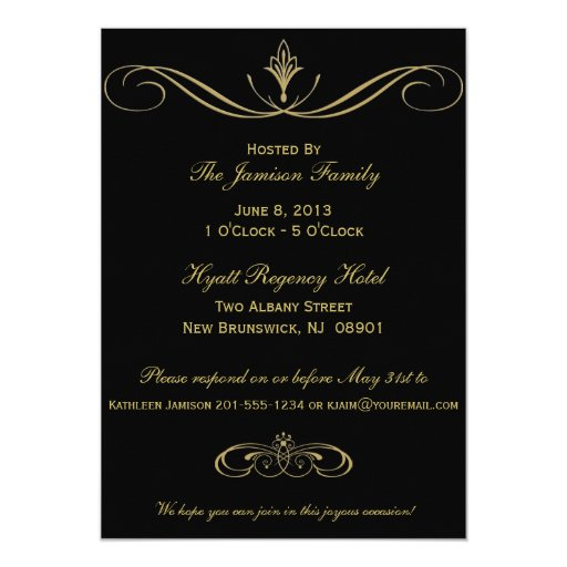 Black and Gold 80th Birthday Party Invitation (back side)